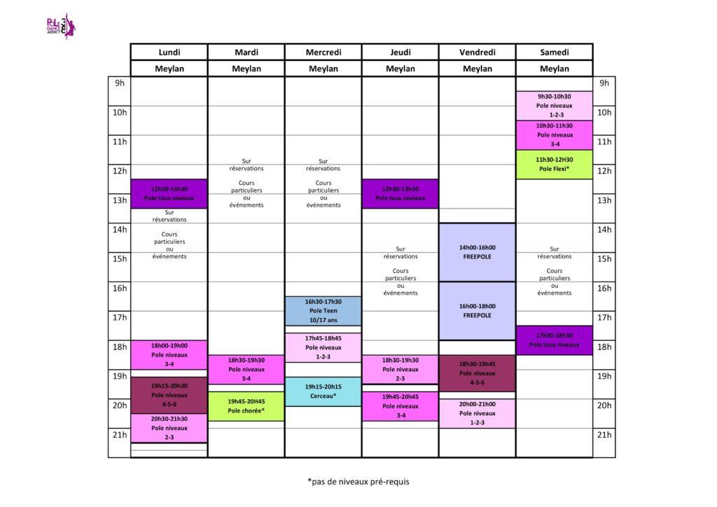 Voici le planning des cours de pole dance et cerceau pour l'année scolaire 2019-2020